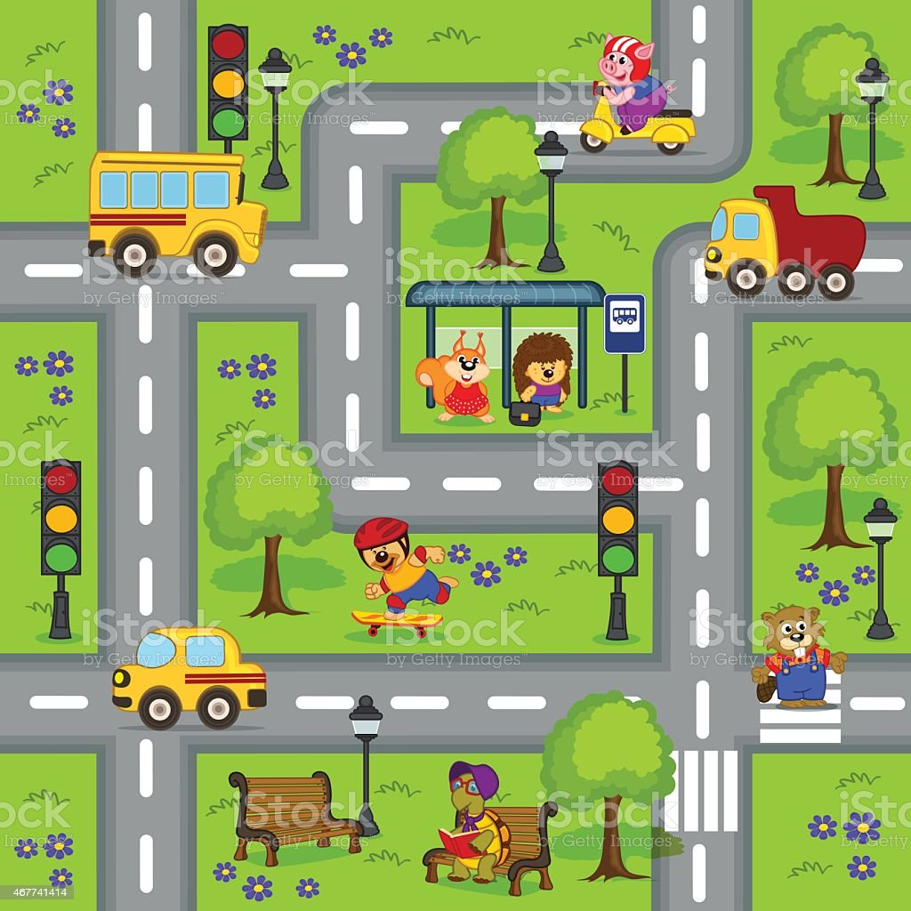 seamless pattern with  roads vector art illustration