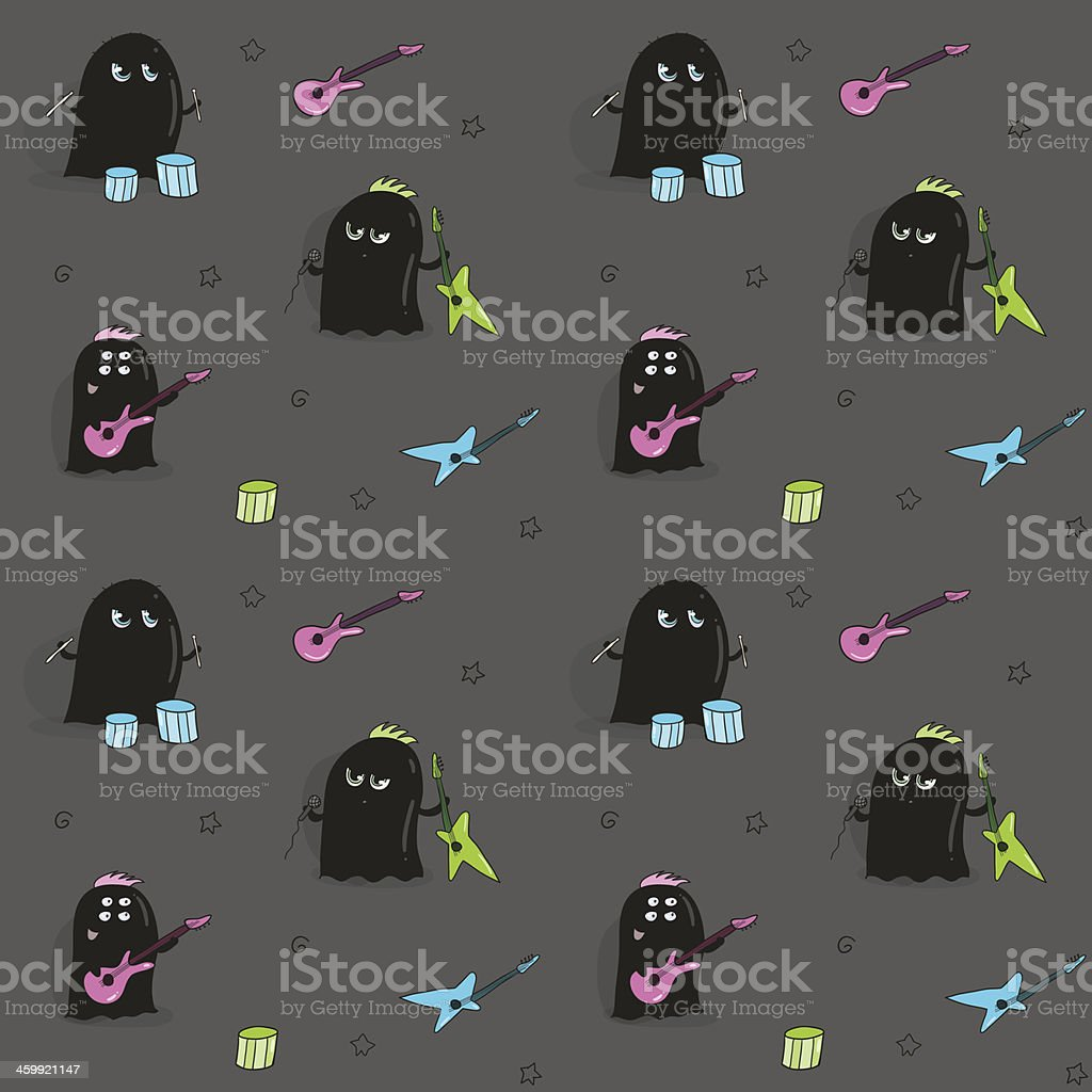 Seamless pattern with rock band of cute aliens royalty-free stock vector art