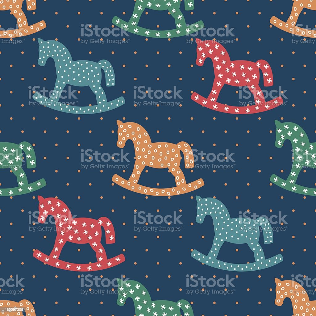 Seamless pattern with rocking horses on dark blue background. vector art illustration
