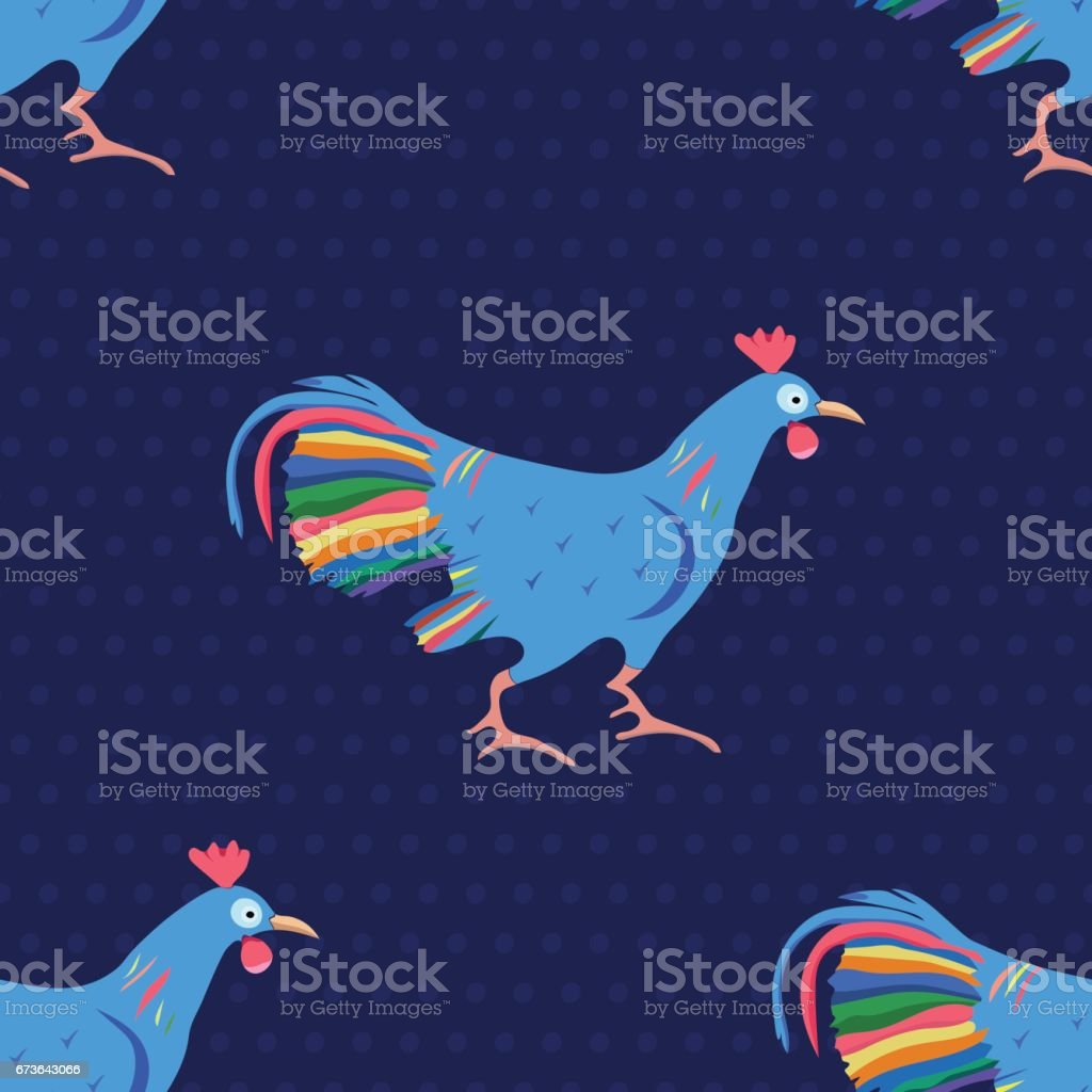 Seamless pattern with Rooster and polka dots. vector art illustration