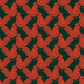 Seamless pattern with rooster .