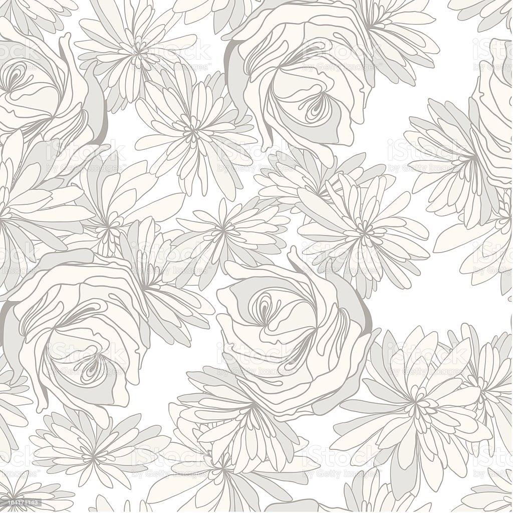 seamless pattern with roses and camomiles royalty-free stock vector art
