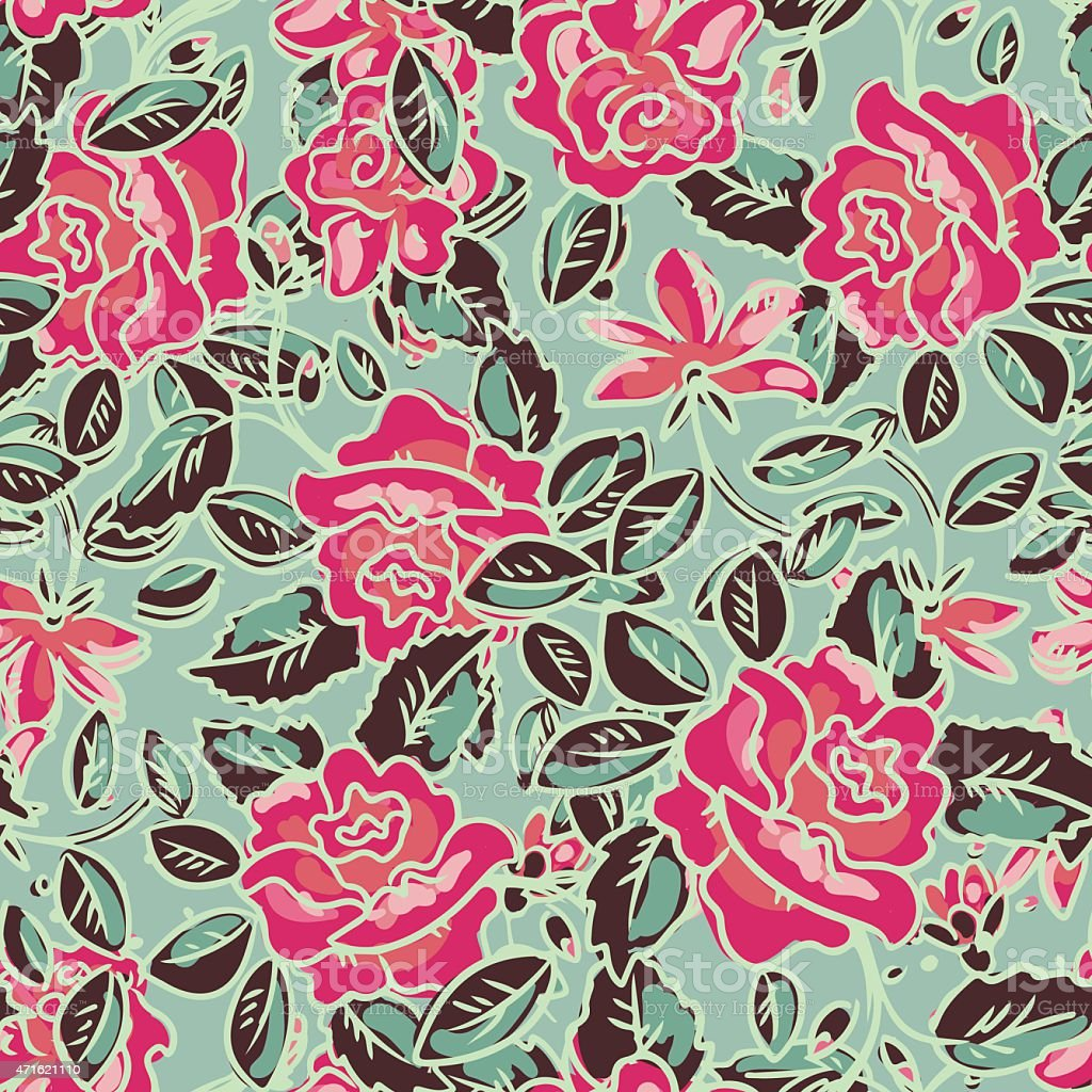 Seamless pattern with roses flowers vector art illustration