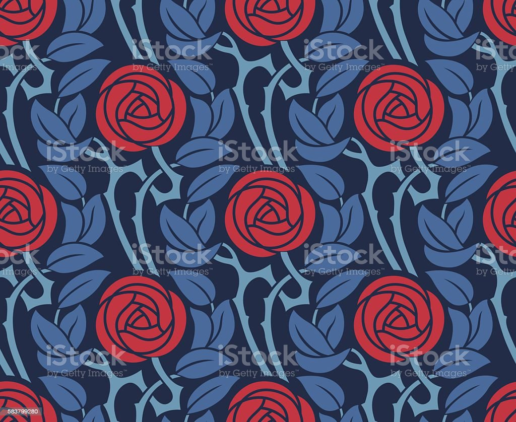 Seamless pattern with roses. vector art illustration