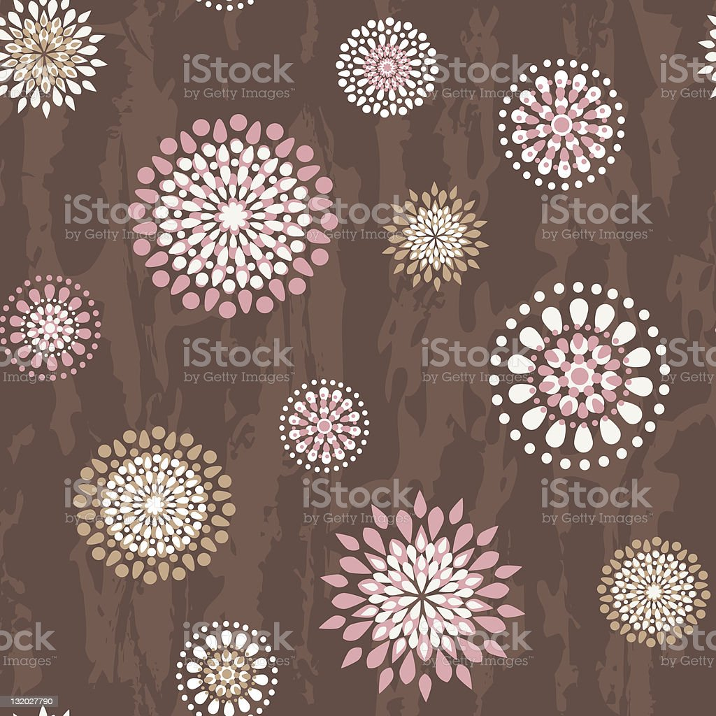 Seamless pattern with round flowers royalty-free stock vector art