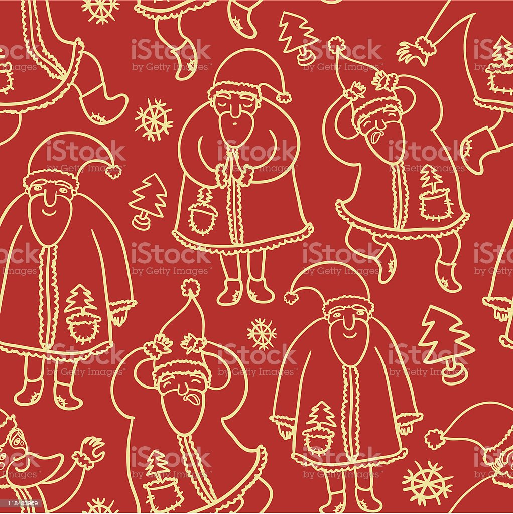 Seamless pattern with Santa Claus royalty-free stock vector art