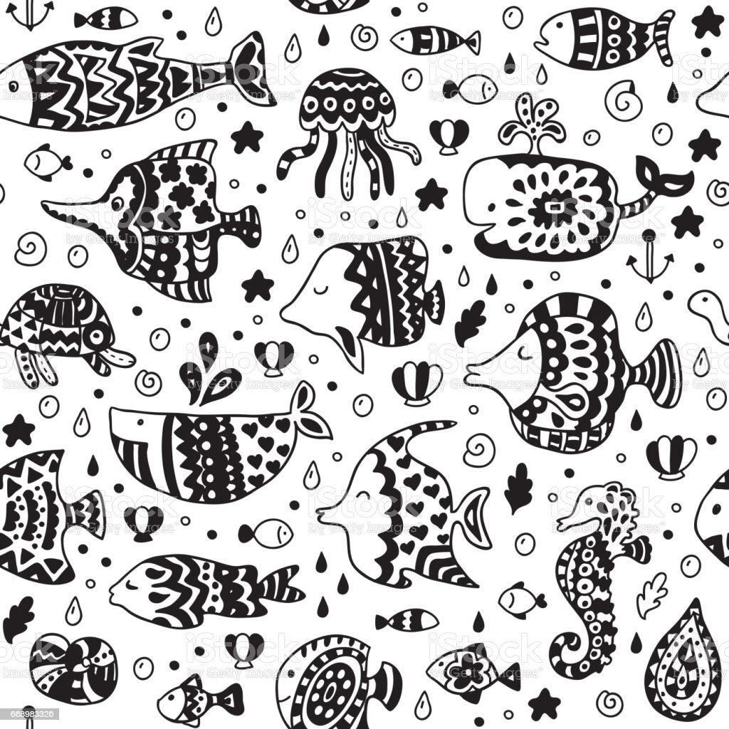 Seamless pattern with sea creatures. vector art illustration