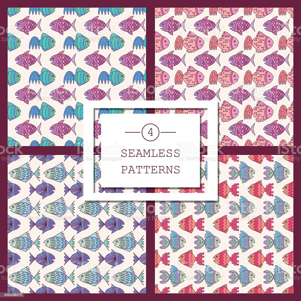 seamless pattern with sea fish royalty-free stock vector art