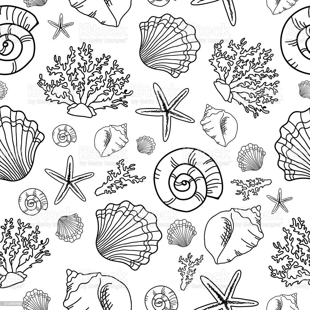Seamless pattern with seashell vector art illustration