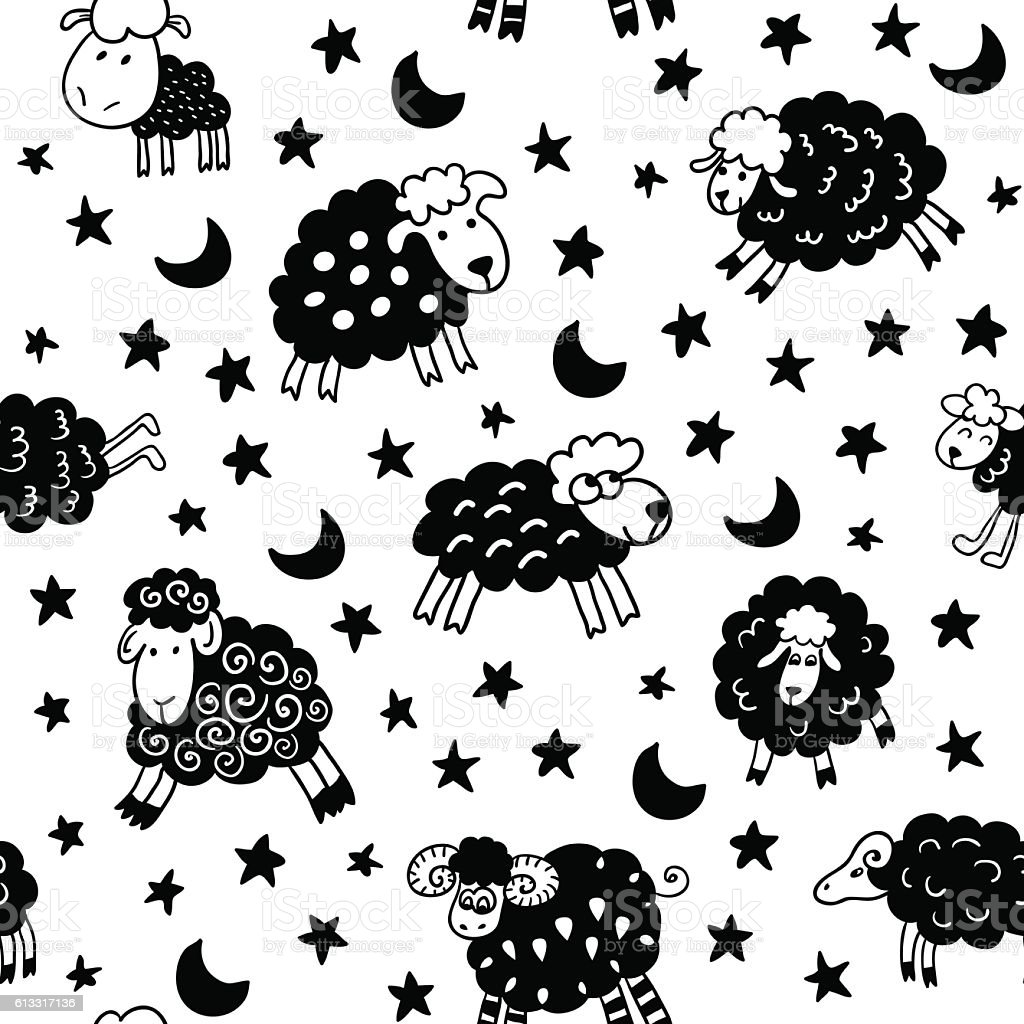 Seamless pattern with sheep in night. vector art illustration