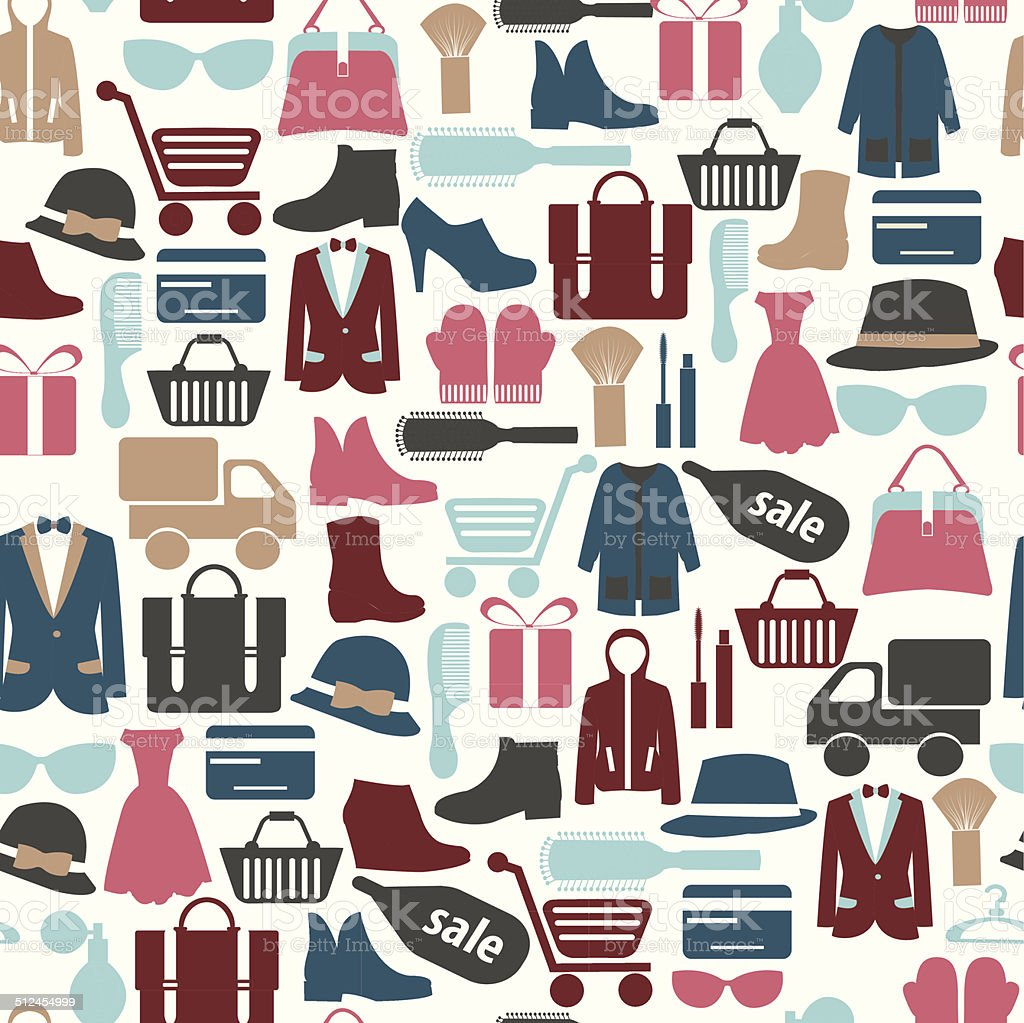 seamless pattern with shopping icons-illustration vector art illustration