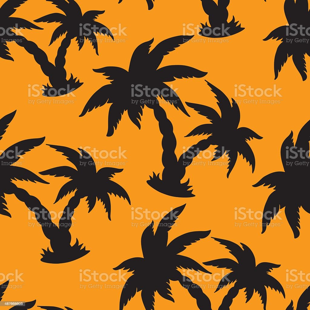 Seamless pattern with silhouettes coconut palm trees royalty-free stock vector art