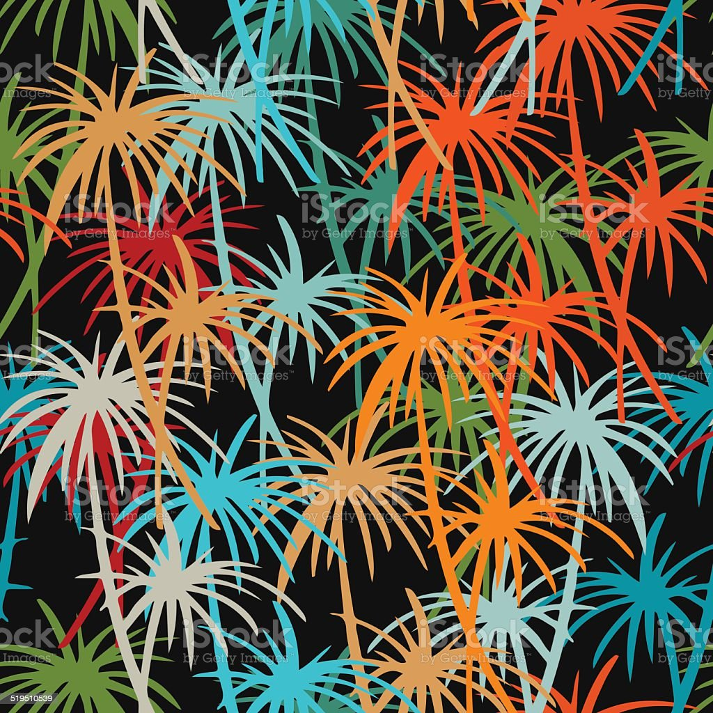 Seamless pattern with silhouettes coconut palm trees vector art illustration