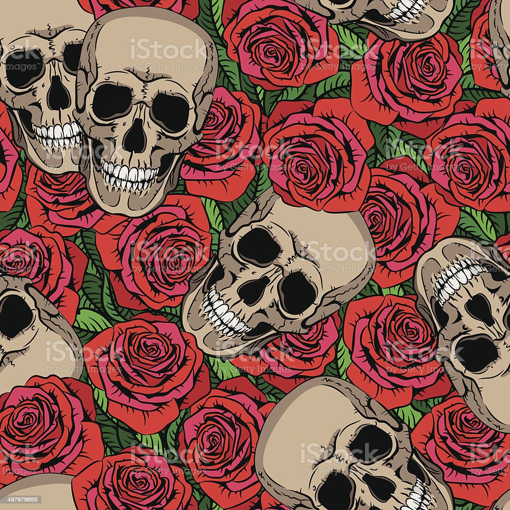 Seamless pattern with skulls and red roses vector art illustration