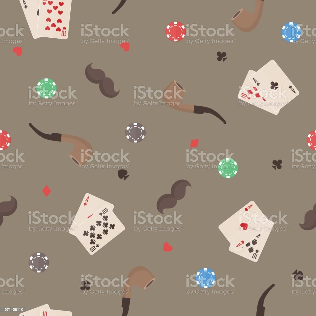 Seamless pattern with smoking pipe, chips, cards and mustache. Great for wrapping paper, posters, backgrounds for the site. vector art illustration