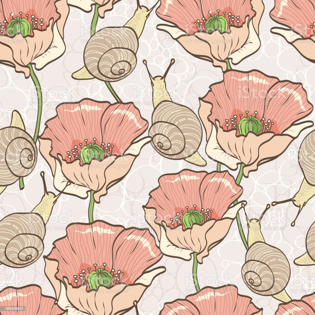 Seamless pattern with snails and poppies royalty-free stock vector art