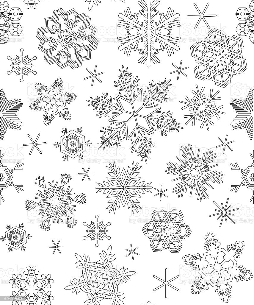 Seamless pattern with snowflakes adult coloring stock for Coloring pages snowflakes