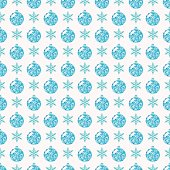 Seamless pattern with snowflakes and glittering Christmas balls.