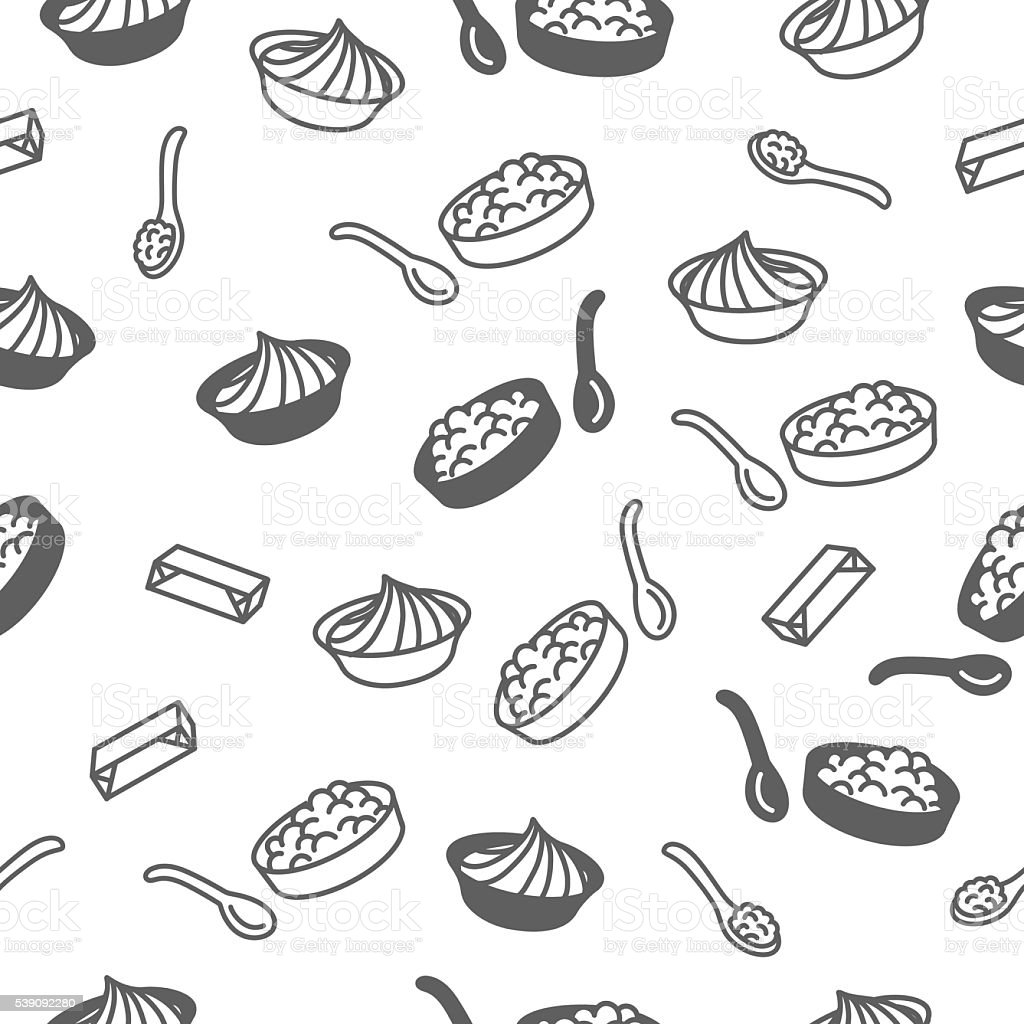 Seamless pattern with sour cream and farmer cheese. vector art illustration