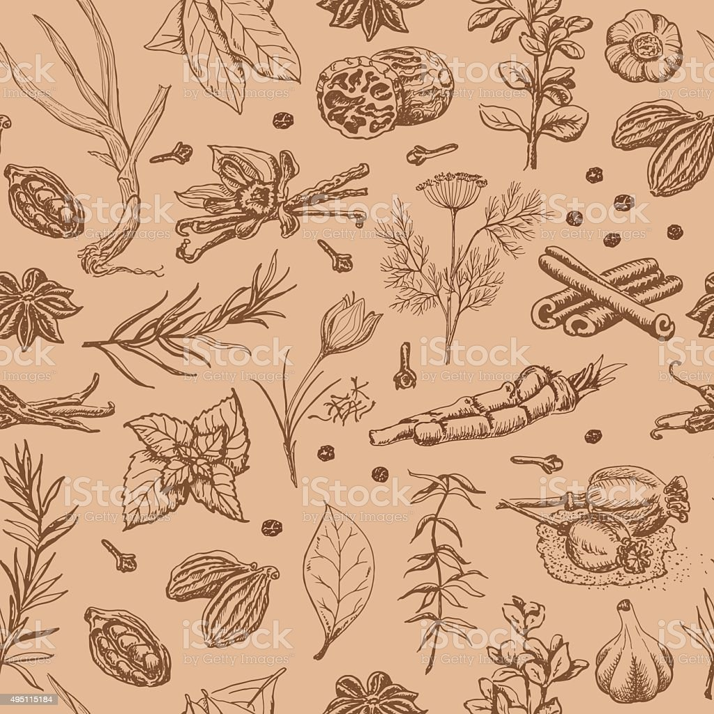 Seamless pattern with spices and herbs on a beige background vector art illustration