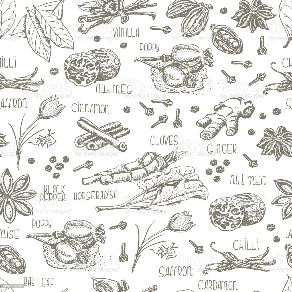 Seamless pattern with spices on a white background vector art illustration