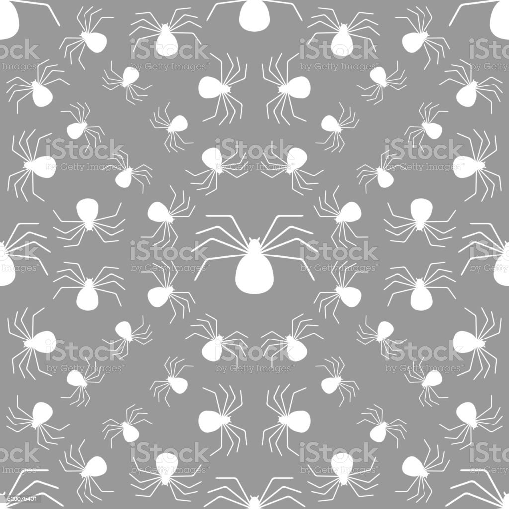 Seamless pattern with spiders, Halloween background vector art illustration