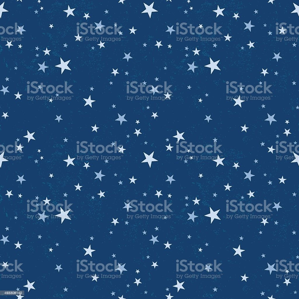 Seamless pattern with starry night sky vector art illustration