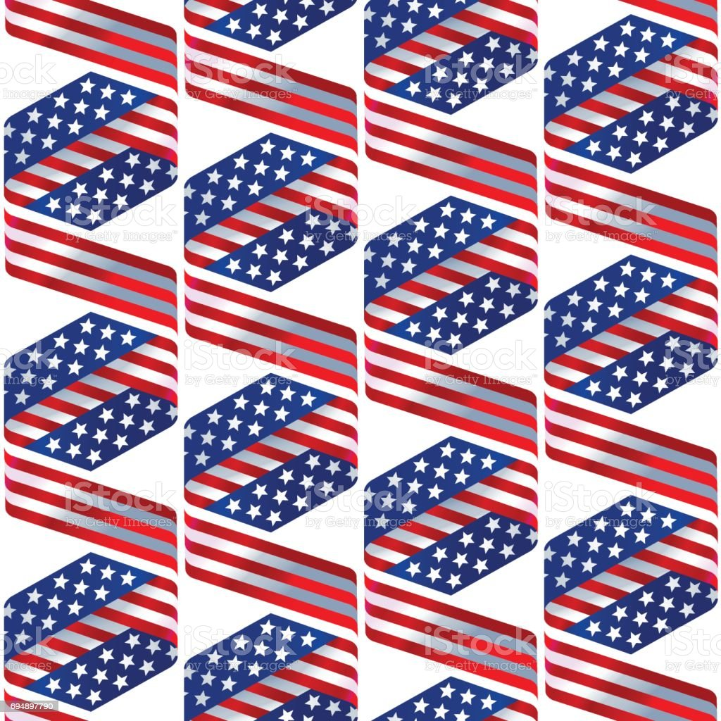 Seamless pattern with stars and stripes in traditional american colors vector art illustration