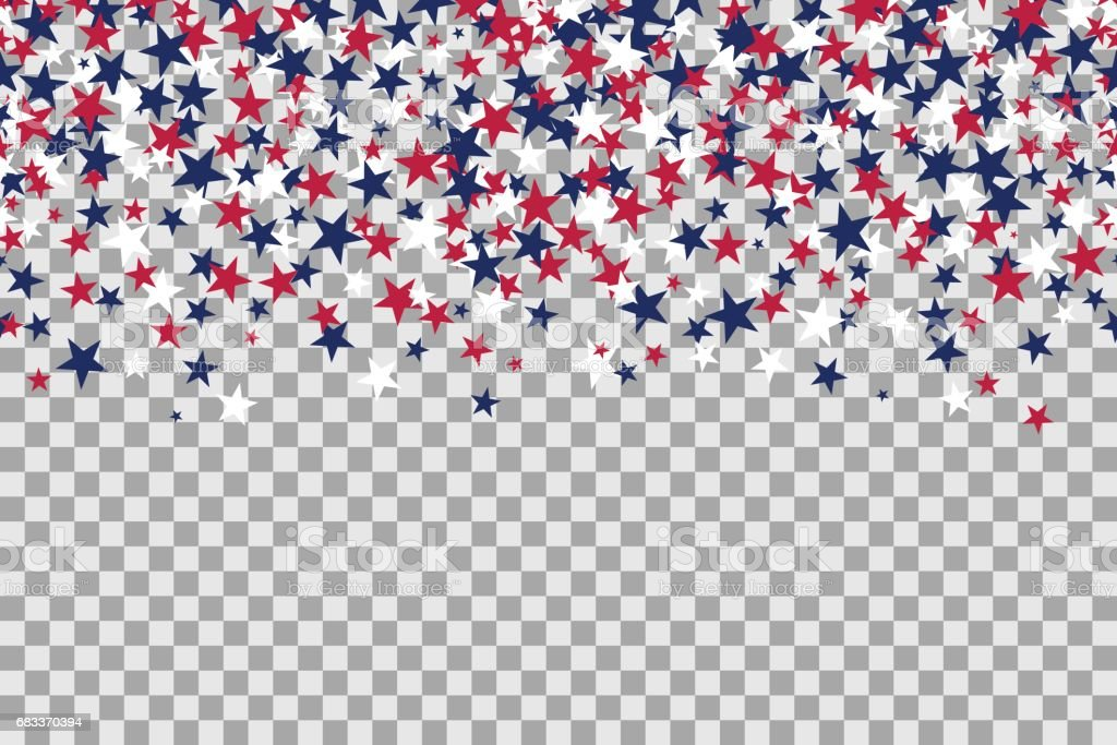 Seamless pattern with stars for Memorial Day celebration on transparent background vector art illustration