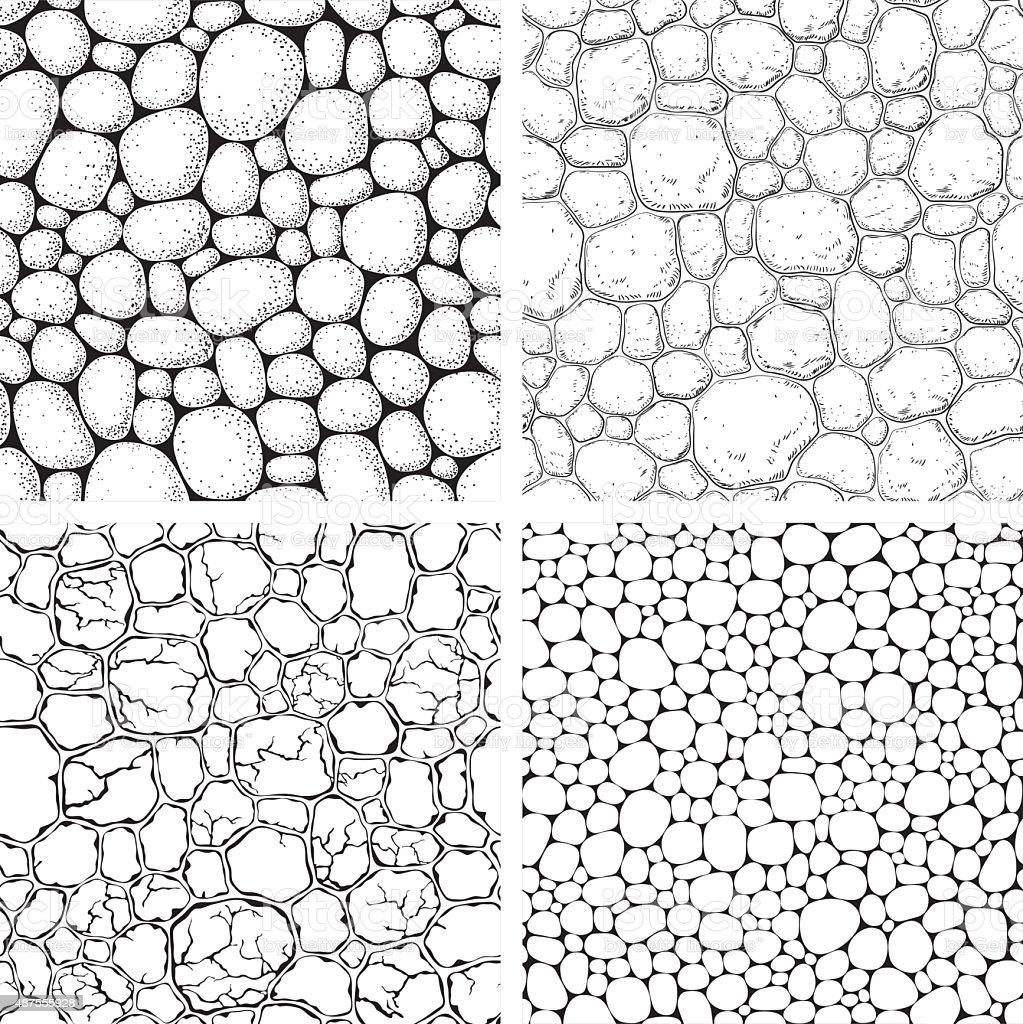 Seamless pattern with stones vector art illustration