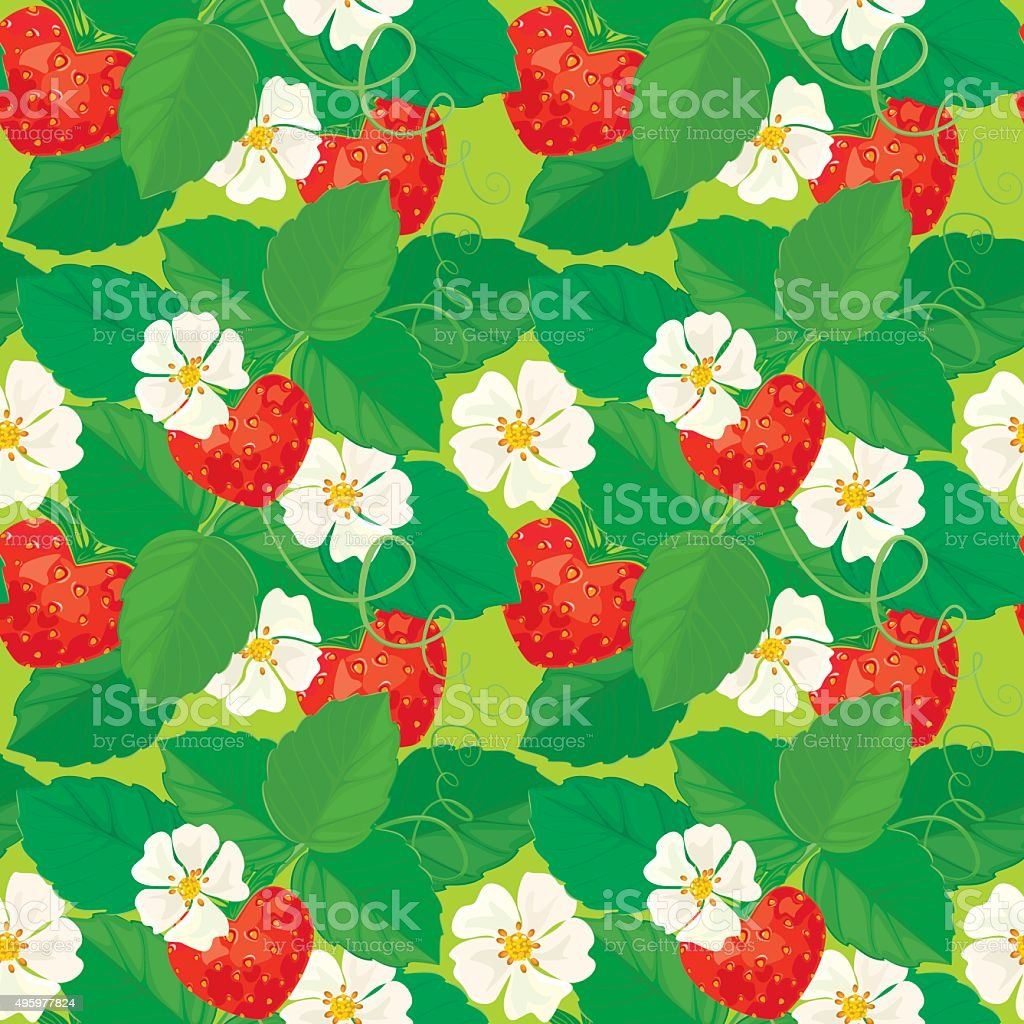 Seamless pattern with Strawberries vector art illustration