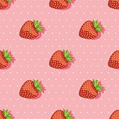 Seamless pattern with strawberries