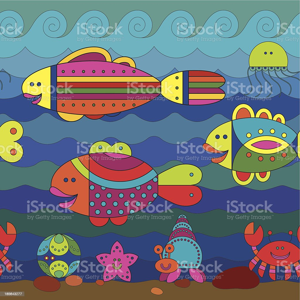 Seamless pattern with stylize fishes royalty-free stock vector art