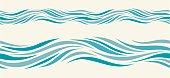 Seamless pattern with stylized blue waves