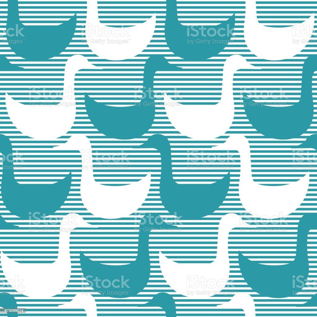 Seamless pattern with stylized silhouettes of goose or duck. vector art illustration