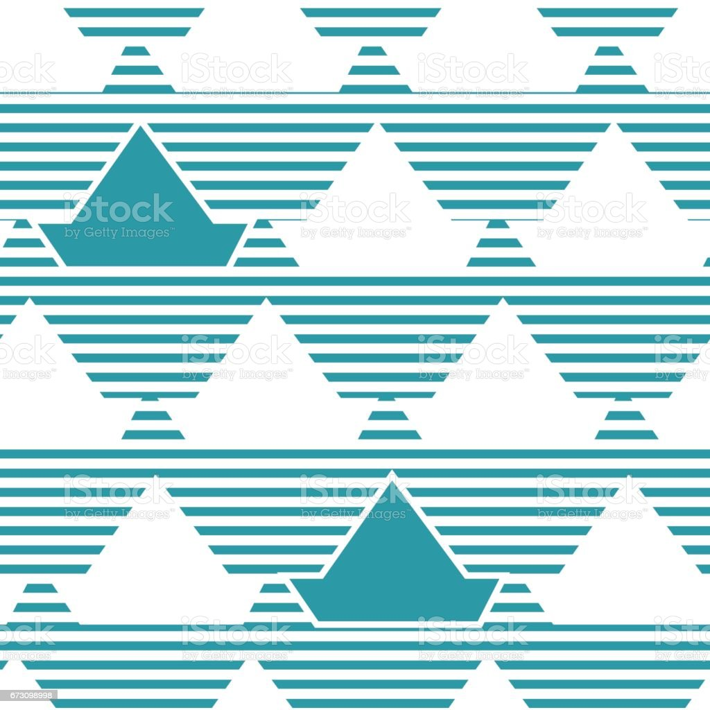 Seamless pattern with stylized silhouettes of toy ship. vector art illustration