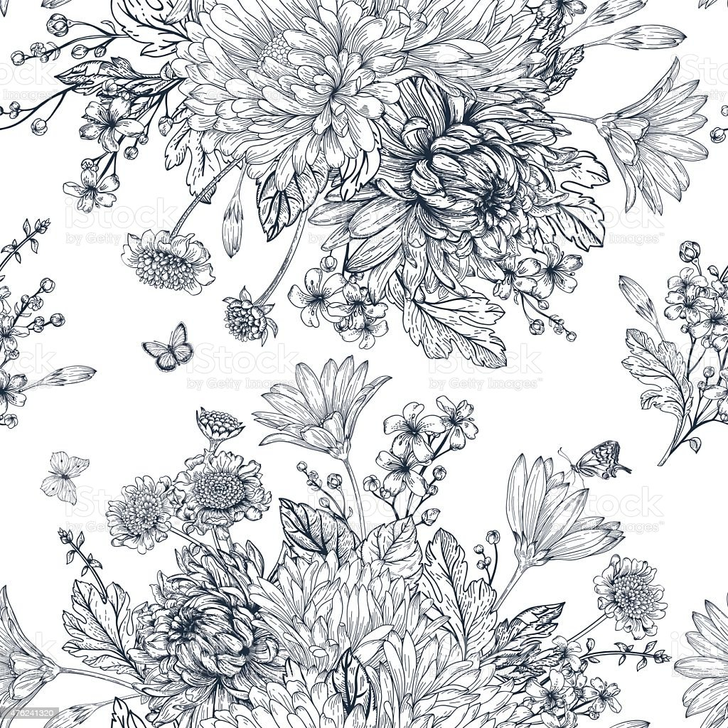 Seamless pattern with summer flowers. vector art illustration