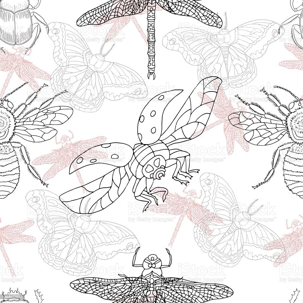 Seamless pattern with summer insects vector art illustration