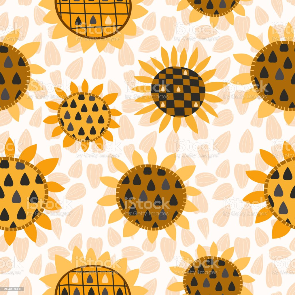 Seamless pattern with sunflower and seeds royalty-free stock vector art