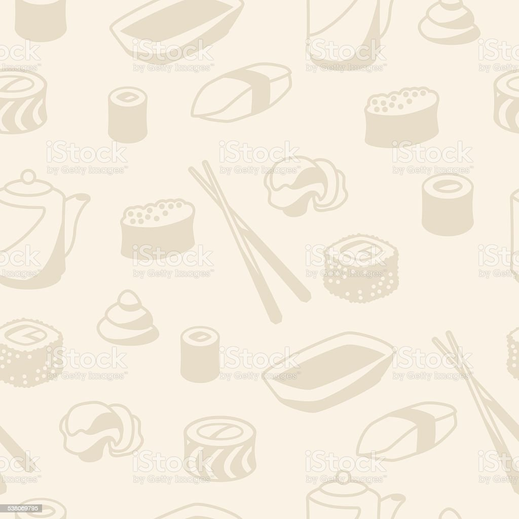 Seamless pattern with sushi vector art illustration
