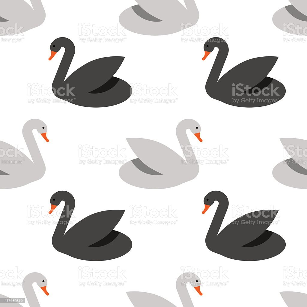 Seamless pattern with swans vector art illustration
