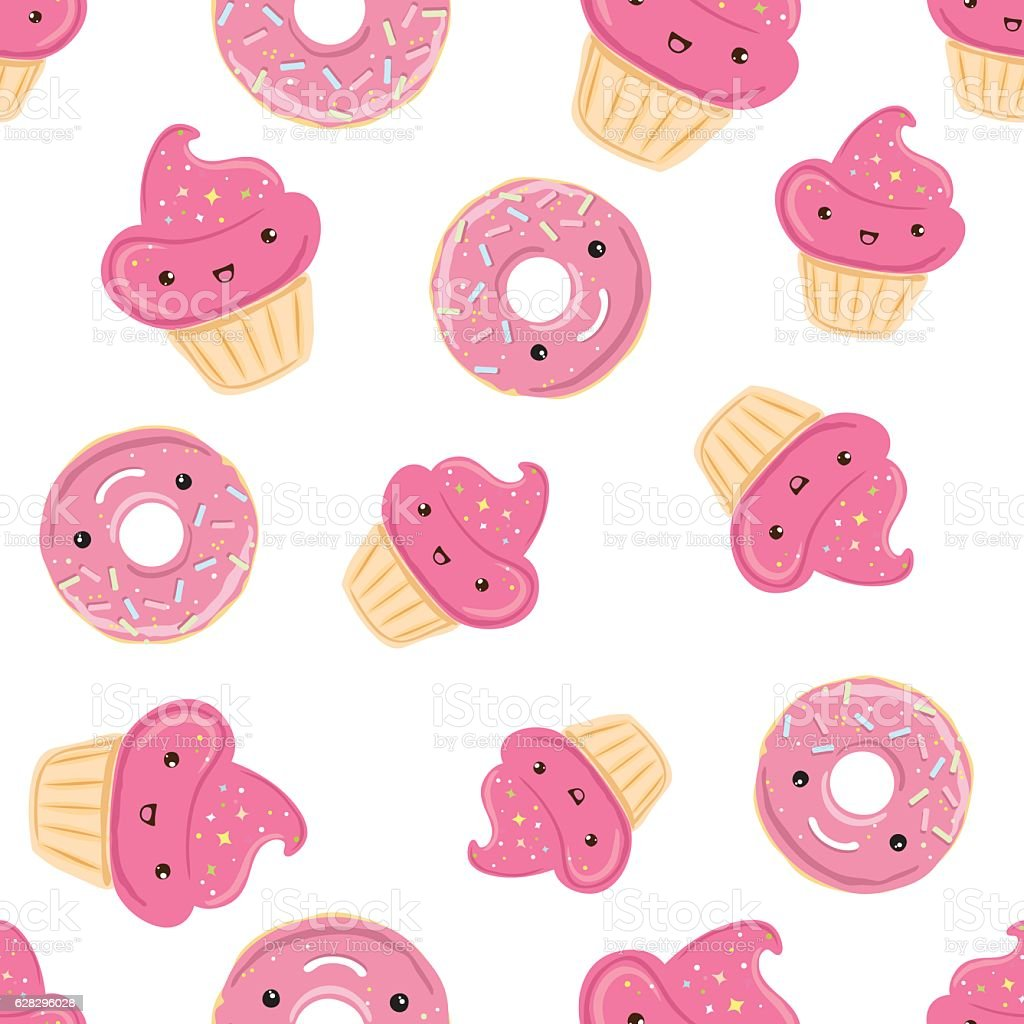 Seamless pattern with sweets - donuts, cupcakes isolated on white vector art illustration
