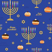 Seamless pattern with symbols for holiday of Hanukkah
