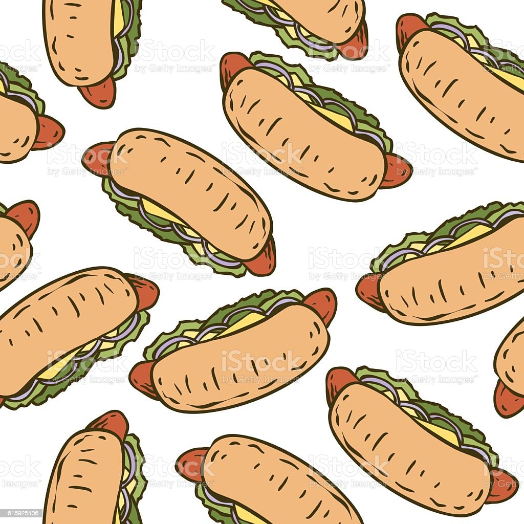 Seamless Pattern with Tasty Hot Dog vector art illustration