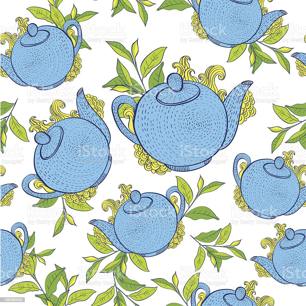 seamless pattern with teapots. royalty-free stock vector art