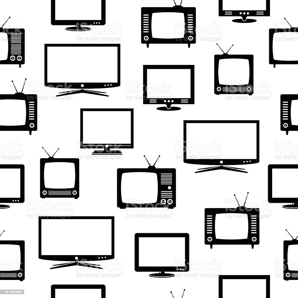 Seamless pattern with television sets vector art illustration