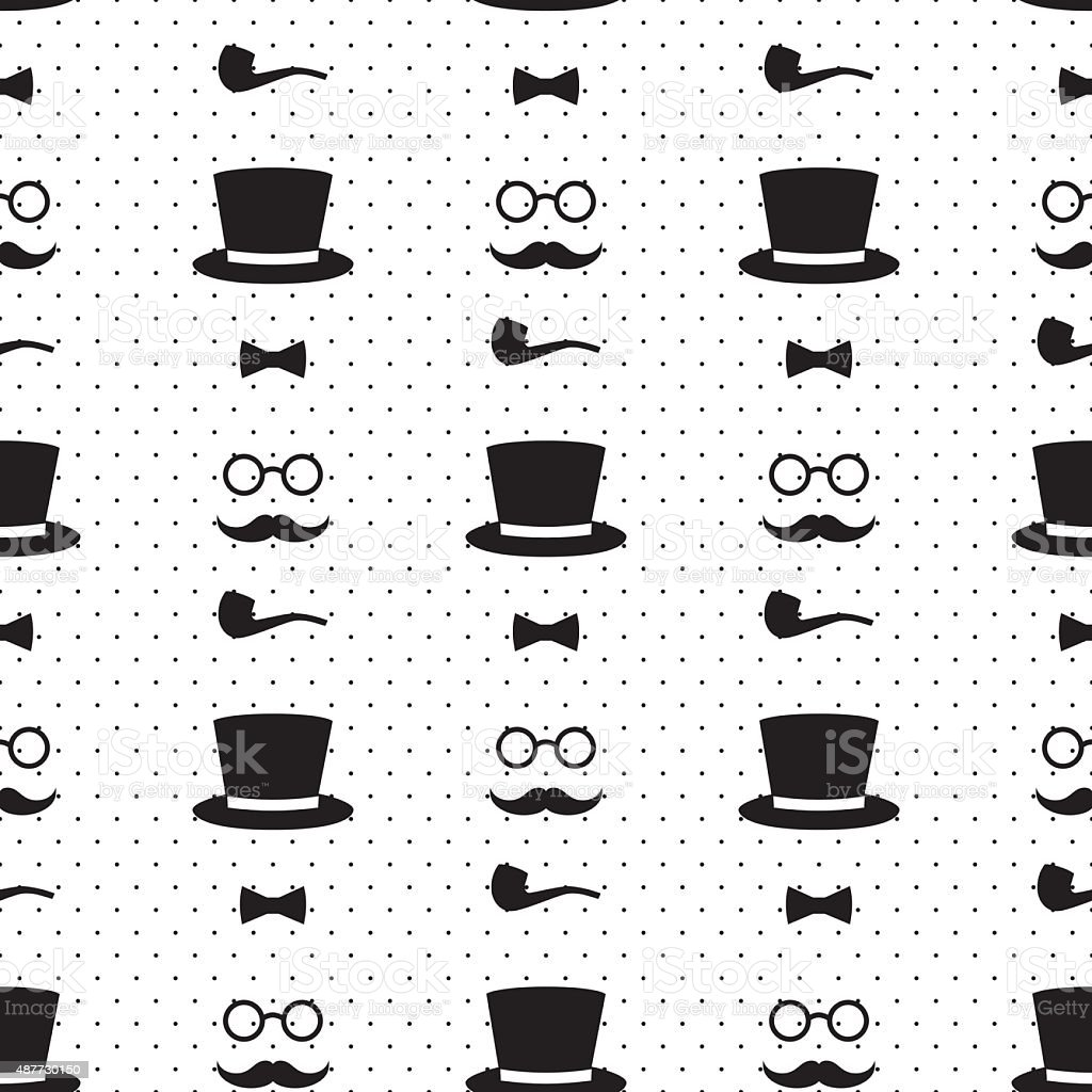 Seamless pattern with tobacco pipe, bow tie, hat, mustache vector art illustration
