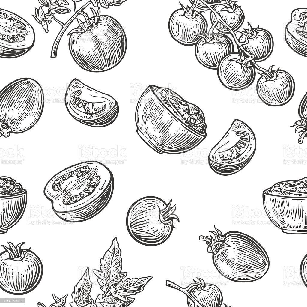 Seamless pattern with Tomato, half and slice. vector art illustration