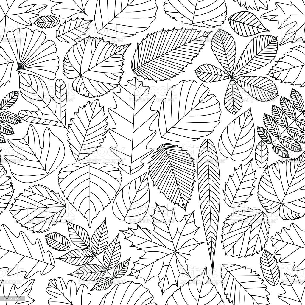 Seamless pattern with tree leaves vector art illustration