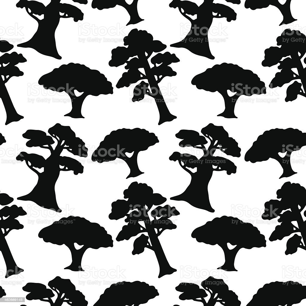 Seamless pattern with trees in black and white vector art illustration